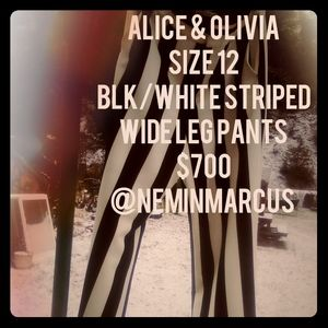 Alice + Olivia - Blk/White Striped Pants